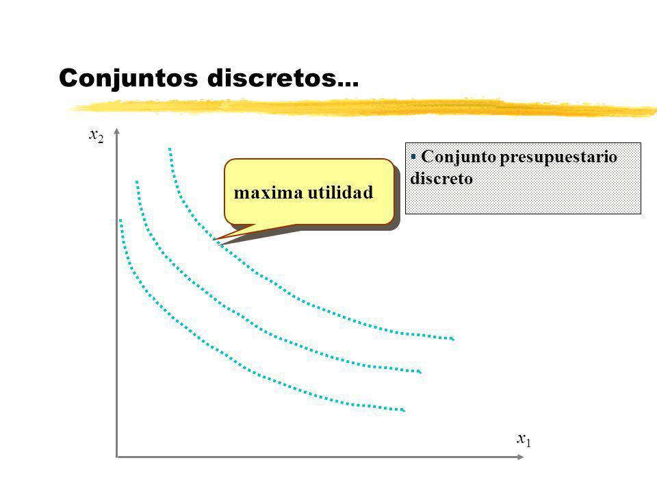 Conjuntos discretos... maxima utilidad x2 x1
