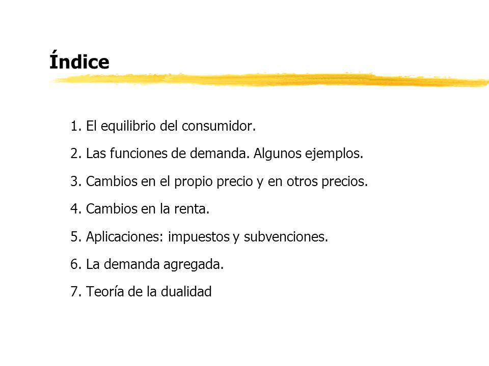 Índice 1. El equilibrio del consumidor.