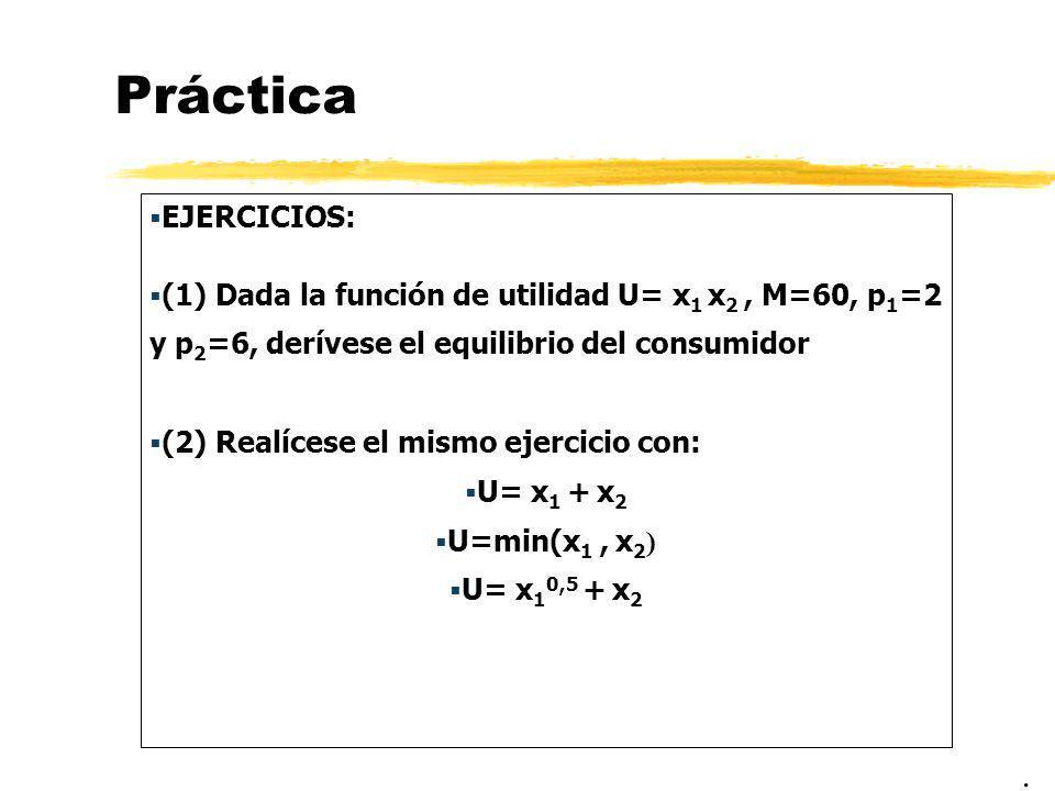 Práctica EJERCICIOS: (1) Dada la función de utilidad U= x1 x2 , M=60, p1=2 y p2=6, derívese el equilibrio del consumidor.