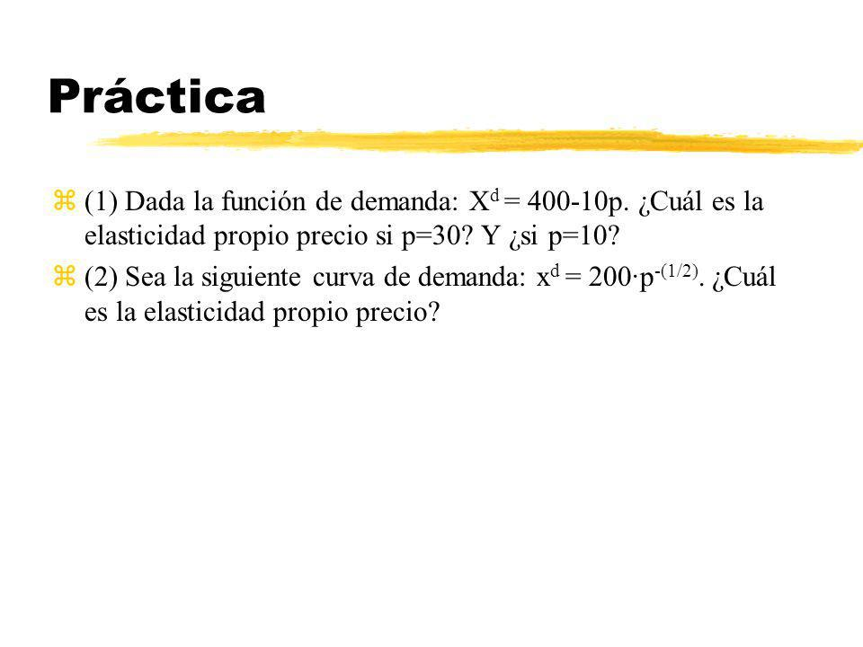 Práctica (1) Dada la función de demanda: Xd = 400-10p. ¿Cuál es la elasticidad propio precio si p=30 Y ¿si p=10