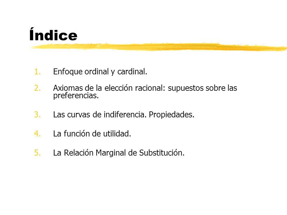 Índice Enfoque ordinal y cardinal.