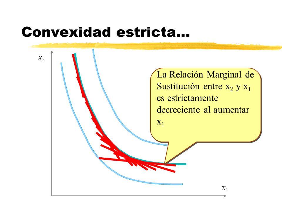 Convexidad estricta…x2. La Relación Marginal de Sustitución entre x2 y x1 es estrictamente decreciente al aumentar x1.
