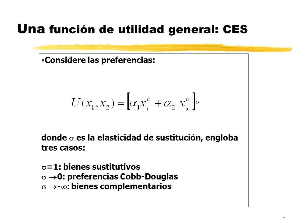 Una función de utilidad general: CES