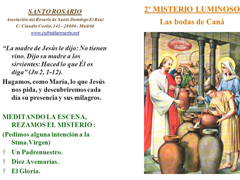 2º MISTERIO LUMINOSO Las bodas de Caná