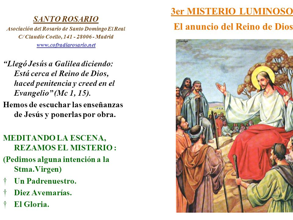 3er MISTERIO LUMINOSO El anuncio del Reino de Dios