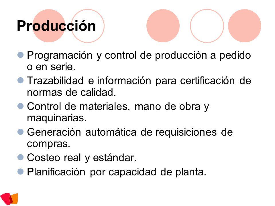 Producción Programación y control de producción a pedido o en serie.