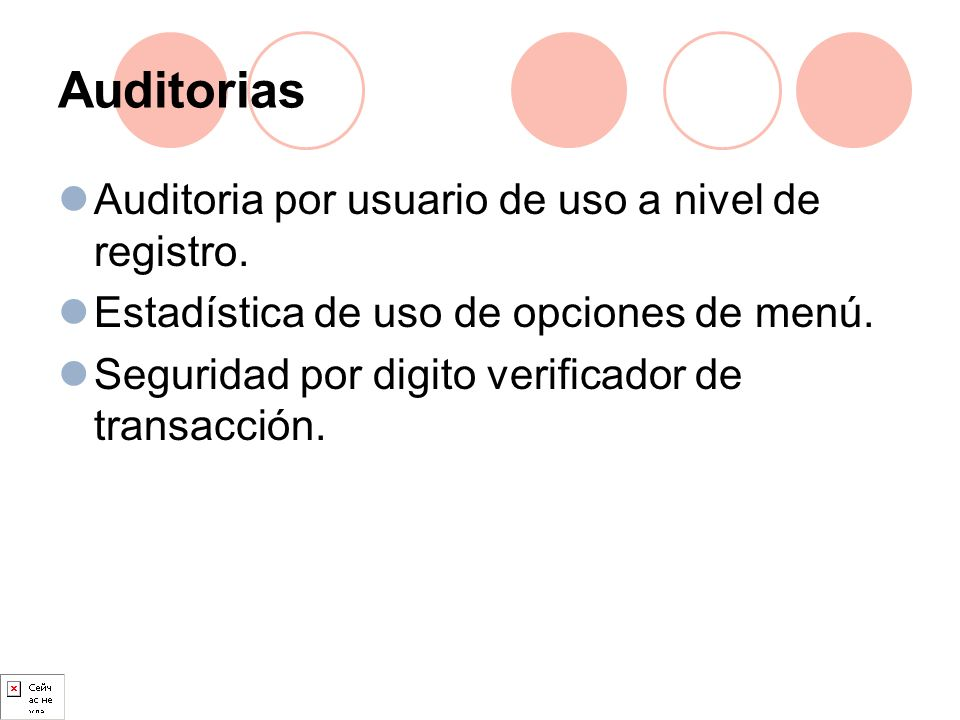Auditorias Auditoria por usuario de uso a nivel de registro.