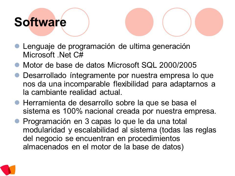 Software Lenguaje de programación de ultima generación Microsoft .Net C# Motor de base de datos Microsoft SQL 2000/2005.