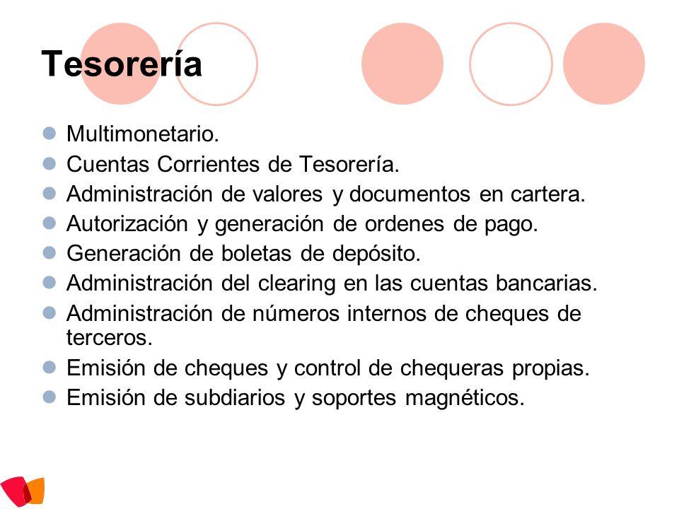 Tesorería Multimonetario. Cuentas Corrientes de Tesorería.