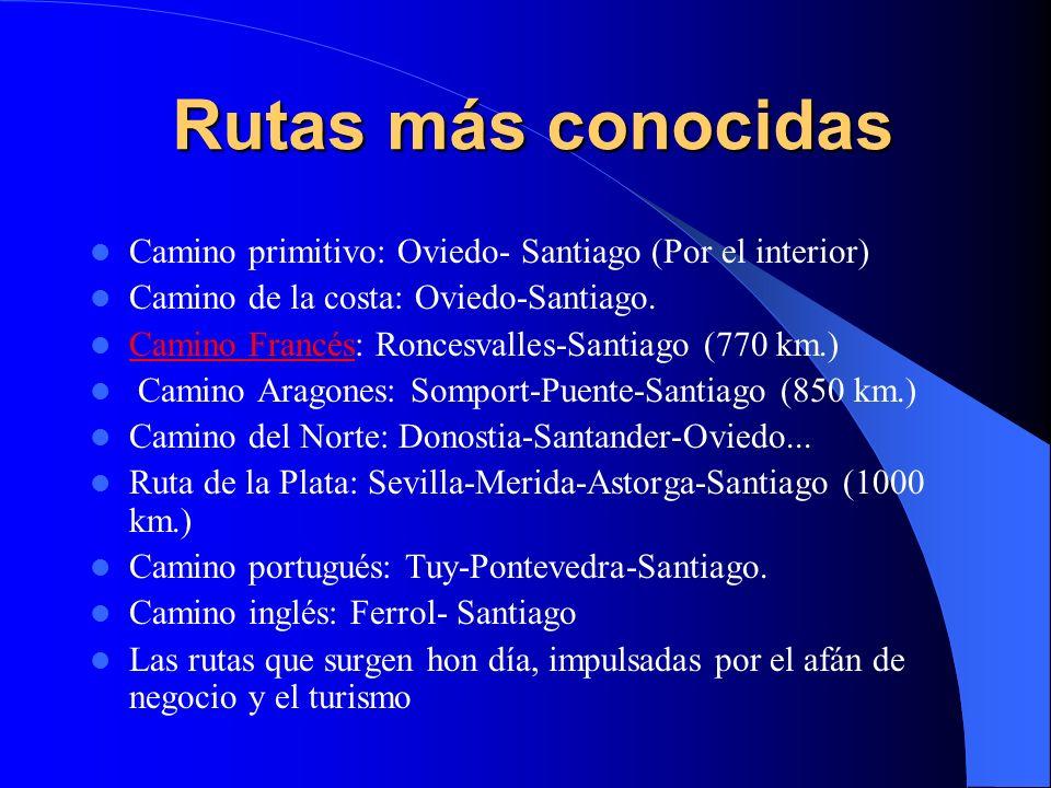 Rutas más conocidas Camino primitivo: Oviedo- Santiago (Por el interior) Camino de la costa: Oviedo-Santiago.
