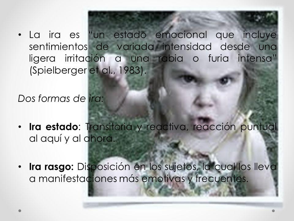 La ira es un estado emocional que incluye sentimientos de variada intensidad desde una ligera irritación a una rabia o furia intensa (Spielberger et al., 1983).