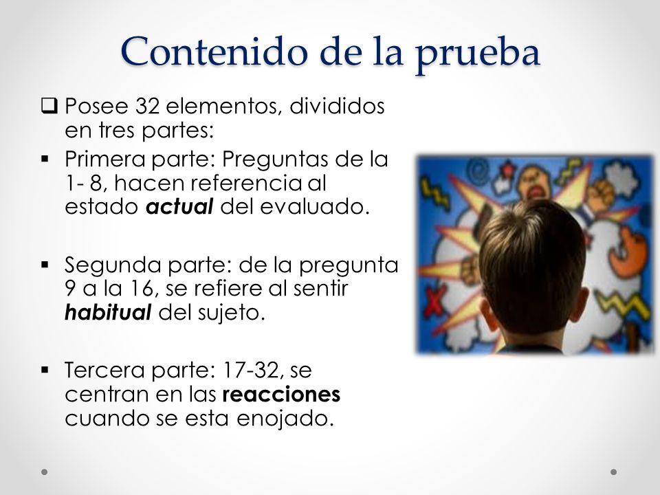 Contenido de la prueba Posee 32 elementos, divididos en tres partes: