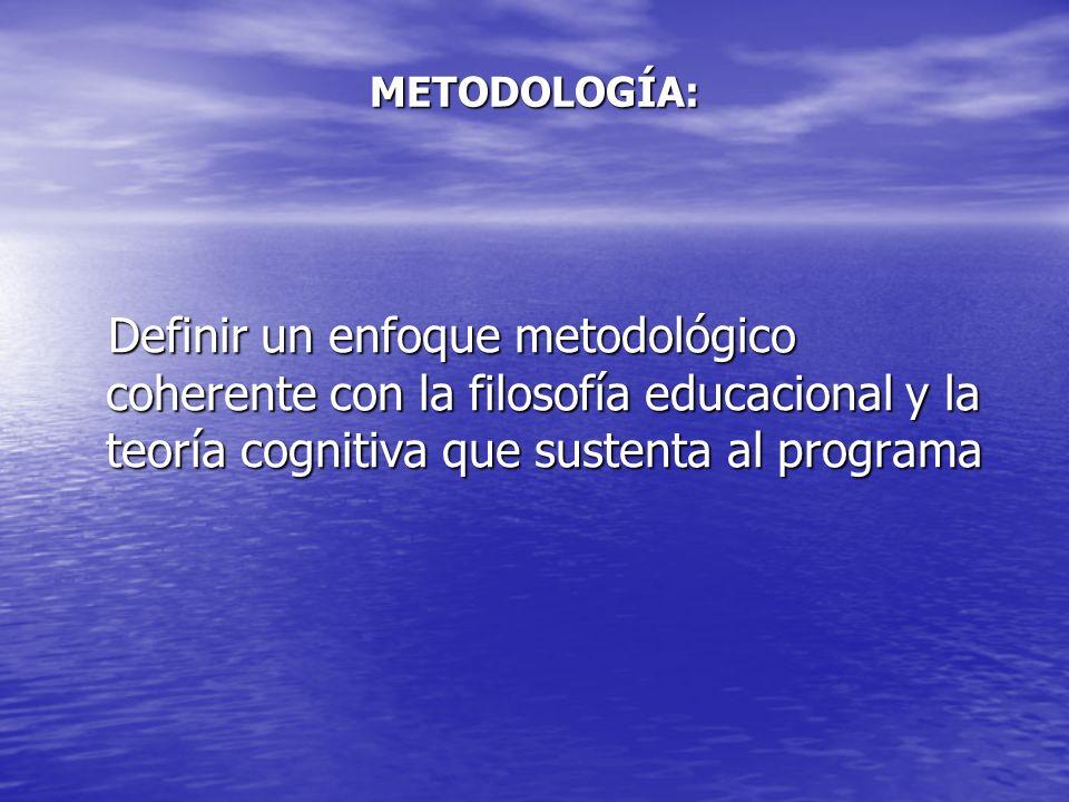 METODOLOGÍA: Definir un enfoque metodológico coherente con la filosofía educacional y la teoría cognitiva que sustenta al programa.