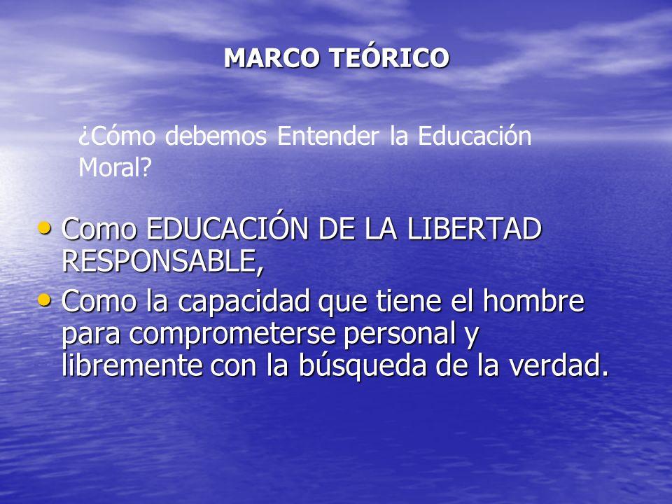Como EDUCACIÓN DE LA LIBERTAD RESPONSABLE,