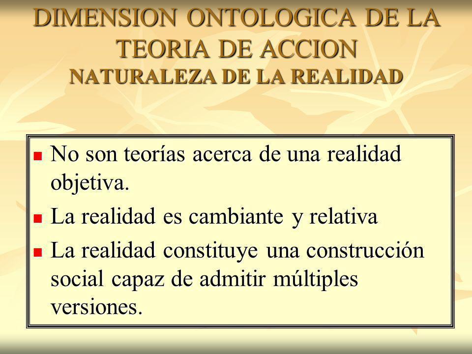 DIMENSION ONTOLOGICA DE LA TEORIA DE ACCION NATURALEZA DE LA REALIDAD