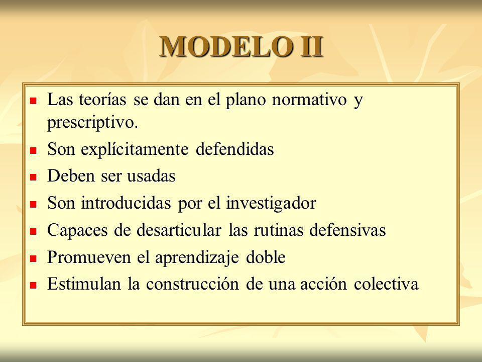 MODELO II Las teorías se dan en el plano normativo y prescriptivo.