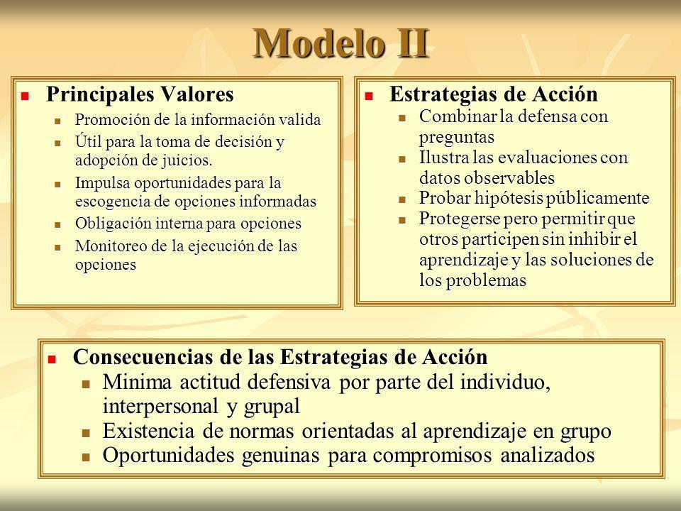 Modelo II Principales Valores Estrategias de Acción