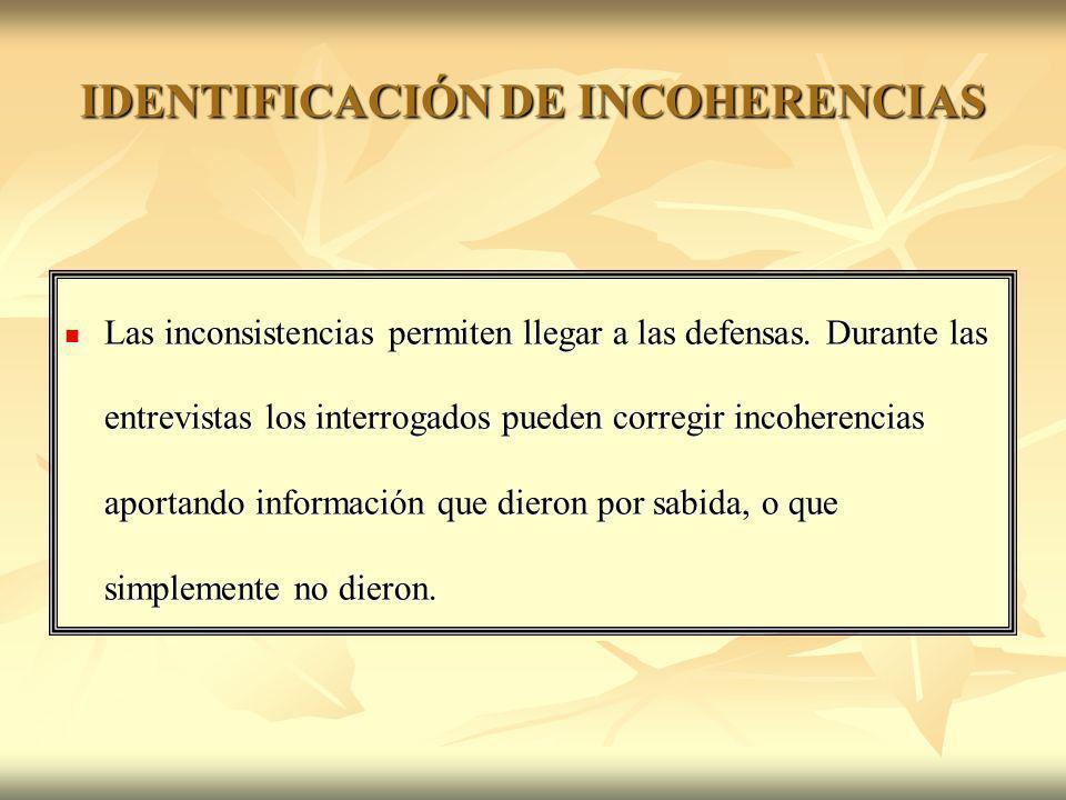 IDENTIFICACIÓN DE INCOHERENCIAS