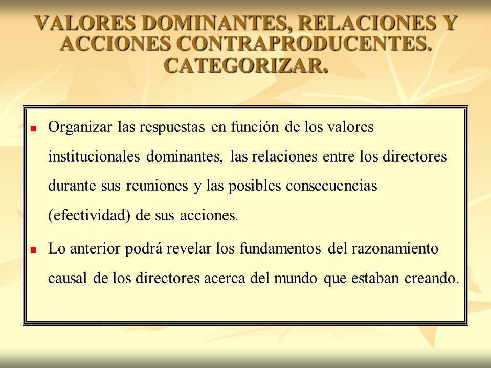 VALORES DOMINANTES, RELACIONES Y ACCIONES CONTRAPRODUCENTES