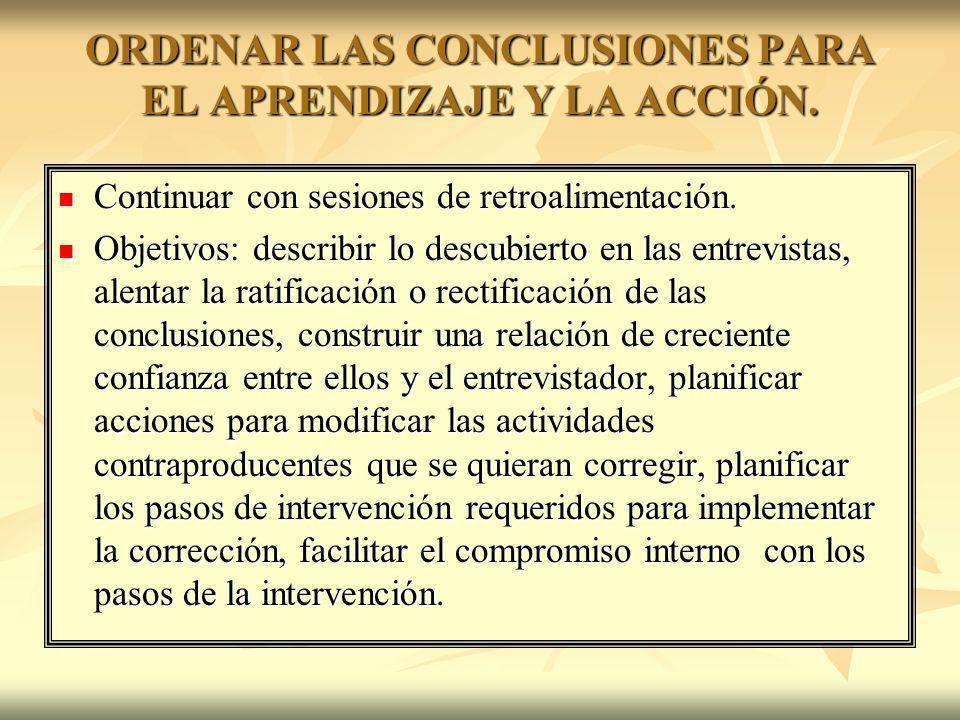 ORDENAR LAS CONCLUSIONES PARA EL APRENDIZAJE Y LA ACCIÓN.