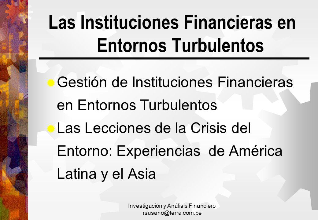 Las Instituciones Financieras en Entornos Turbulentos