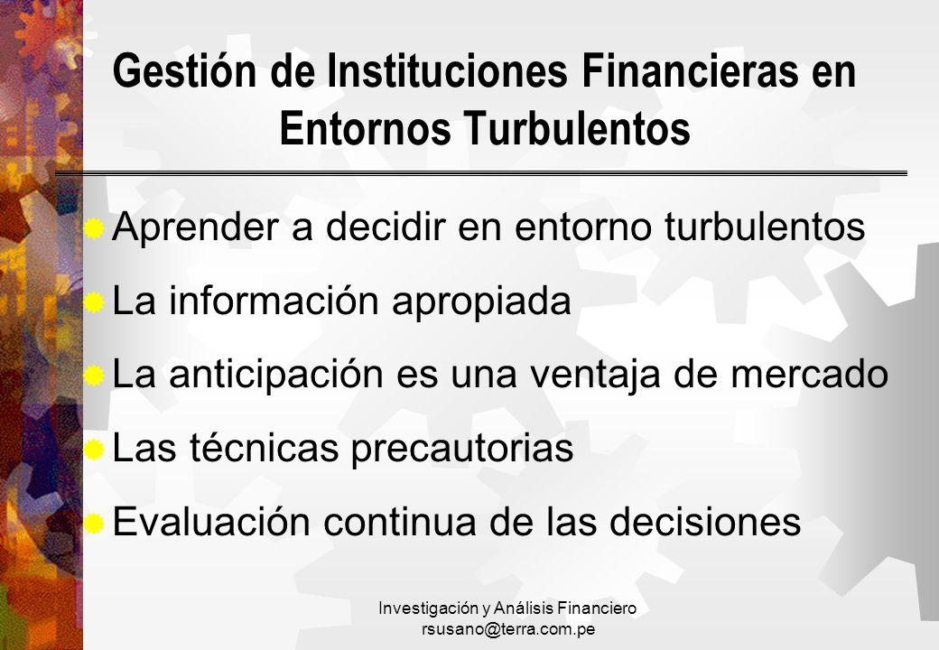 Gestión de Instituciones Financieras en Entornos Turbulentos