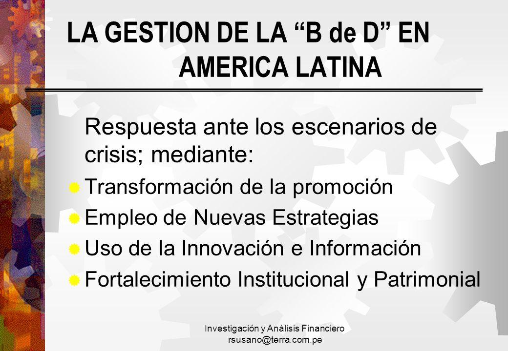 LA GESTION DE LA B de D EN AMERICA LATINA