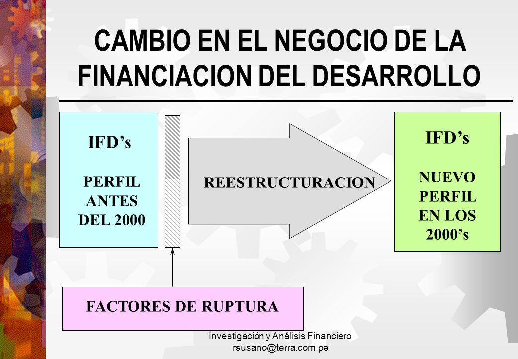 CAMBIO EN EL NEGOCIO DE LA FINANCIACION DEL DESARROLLO