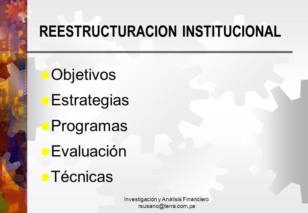 REESTRUCTURACION INSTITUCIONAL