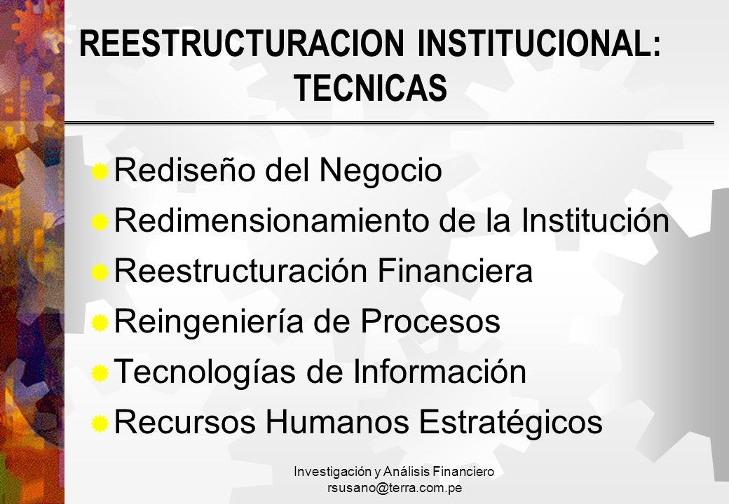 REESTRUCTURACION INSTITUCIONAL: TECNICAS