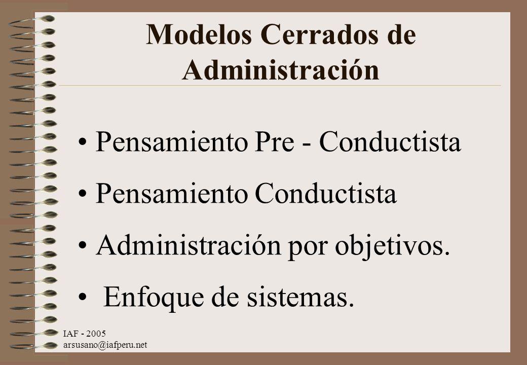 Modelos Cerrados de Administración