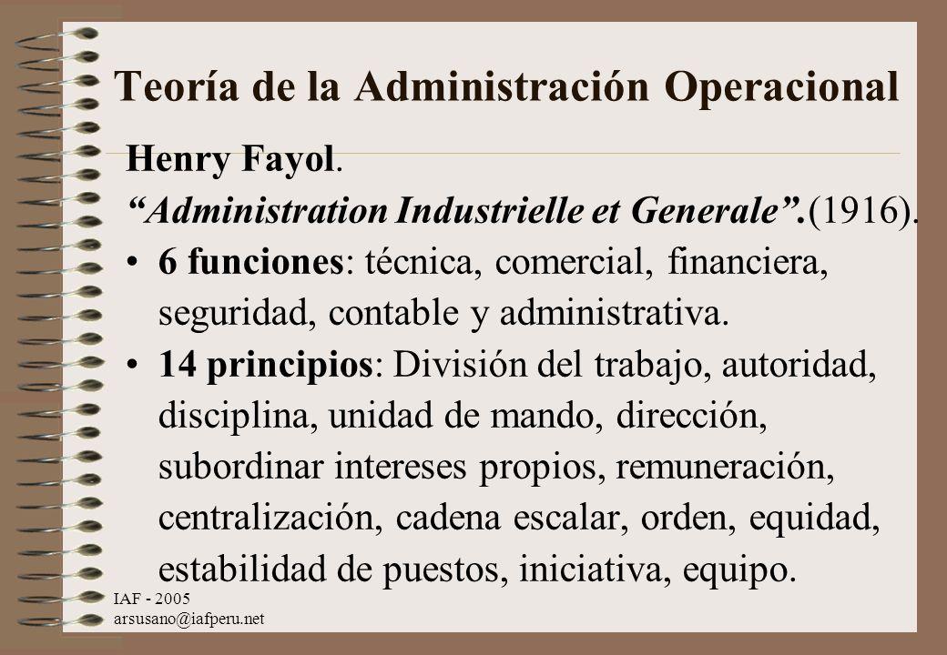 Teoría de la Administración Operacional
