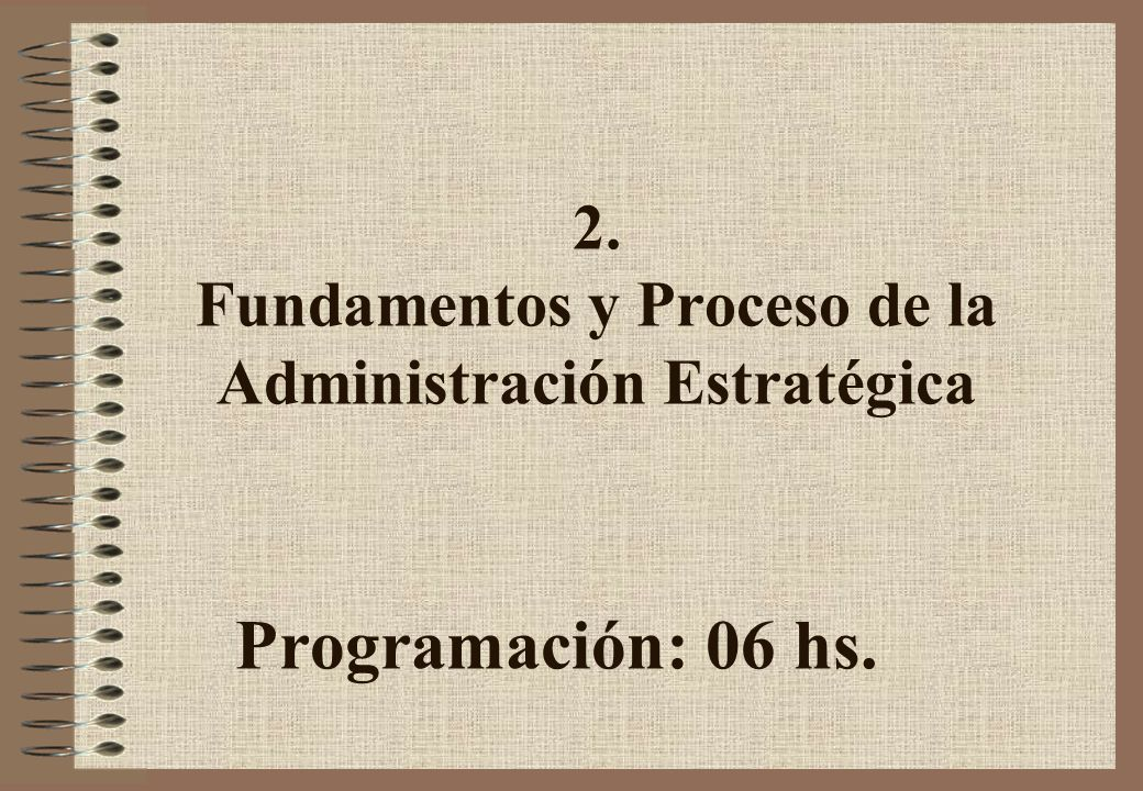 2. Fundamentos y Proceso de la Administración Estratégica