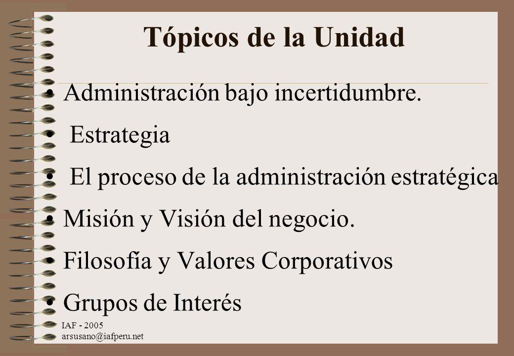 Tópicos de la Unidad Administración bajo incertidumbre. Estrategia