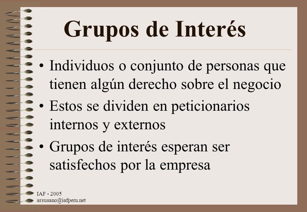 Grupos de Interés Individuos o conjunto de personas que tienen algún derecho sobre el negocio. Estos se dividen en peticionarios internos y externos.