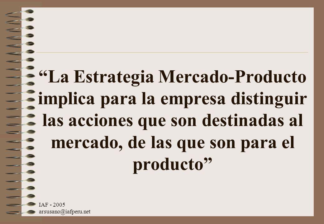 La Estrategia Mercado-Producto implica para la empresa distinguir las acciones que son destinadas al mercado, de las que son para el producto