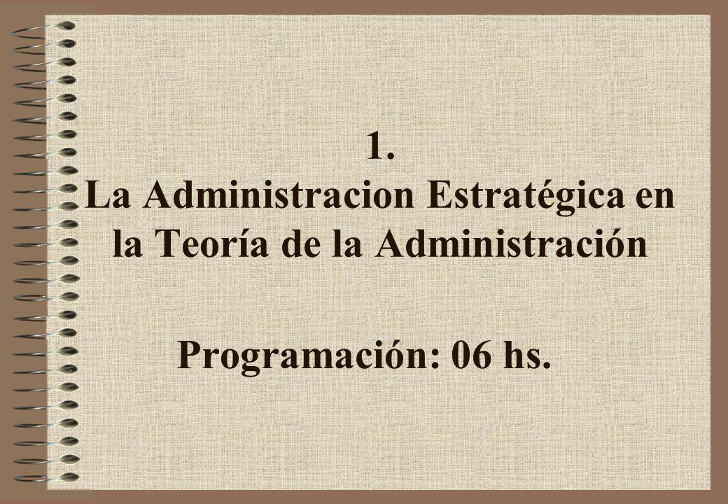 1. La Administracion Estratégica en la Teoría de la Administración