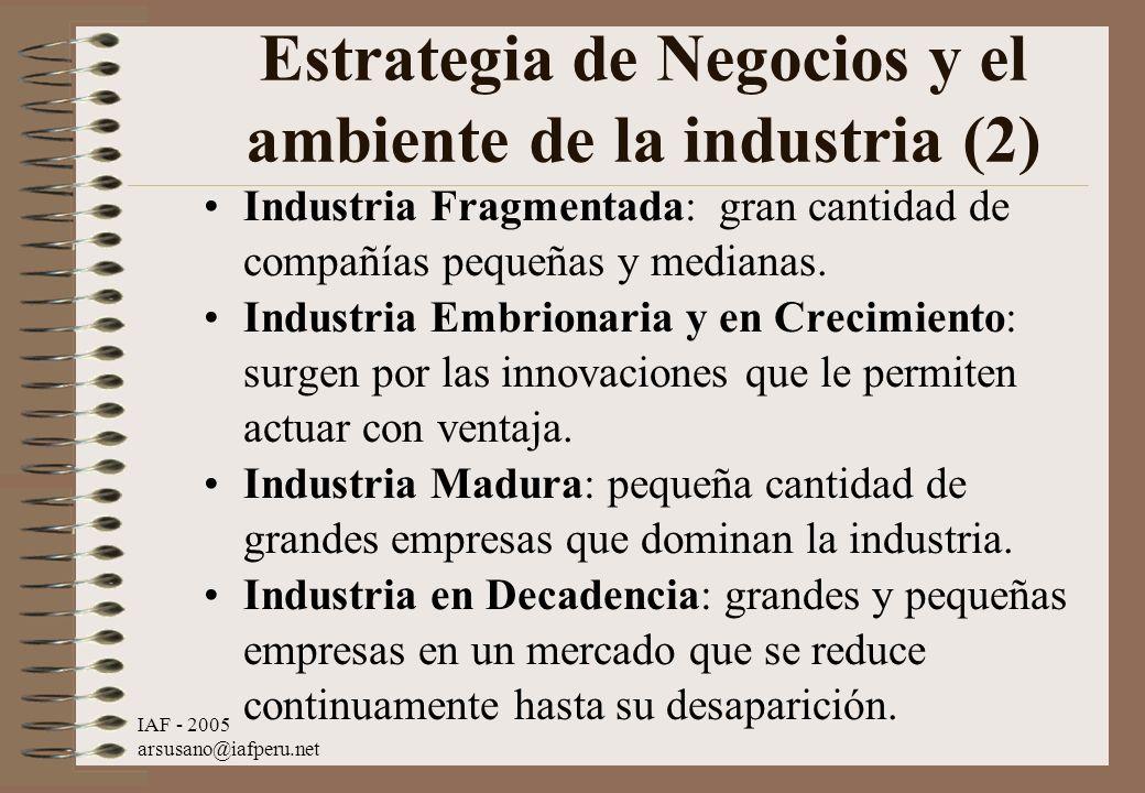 Estrategia de Negocios y el ambiente de la industria (2)