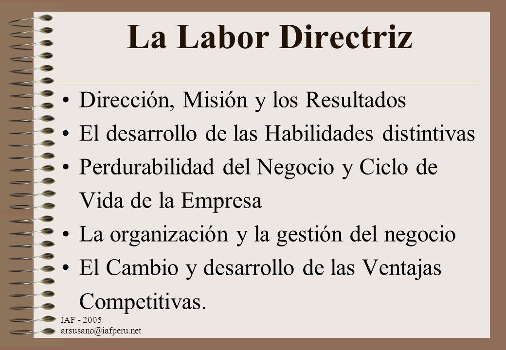 La Labor Directriz Dirección, Misión y los Resultados