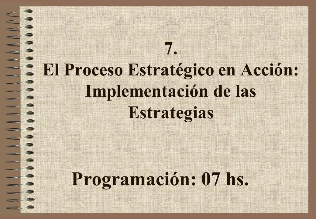 7. El Proceso Estratégico en Acción: Implementación de las Estrategias