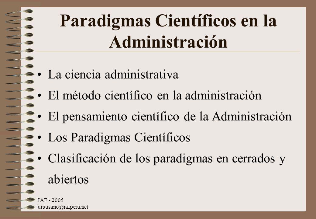 Paradigmas Científicos en la Administración