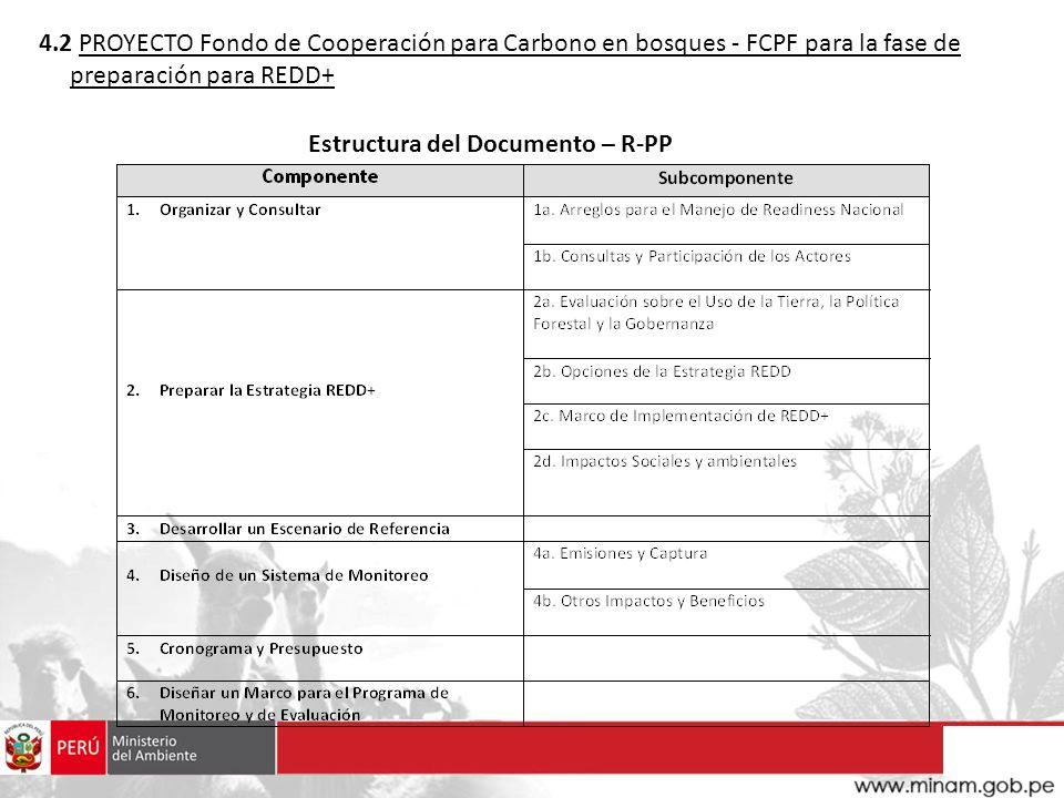 4.2 PROYECTO Fondo de Cooperación para Carbono en bosques - FCPF para la fase de preparación para REDD+