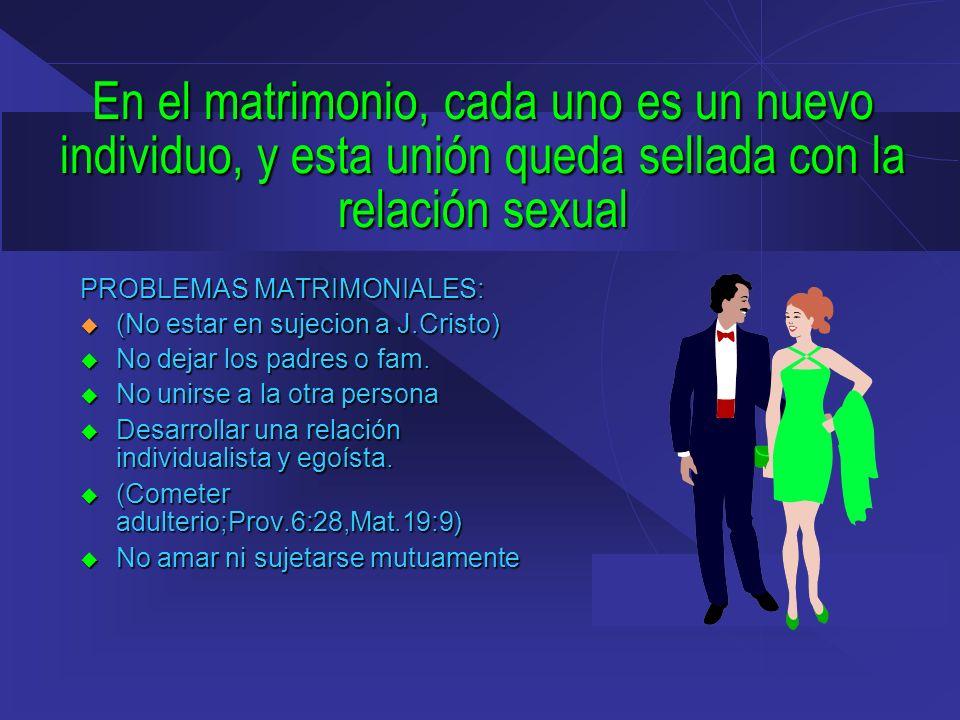 En el matrimonio, cada uno es un nuevo individuo, y esta unión queda sellada con la relación sexual