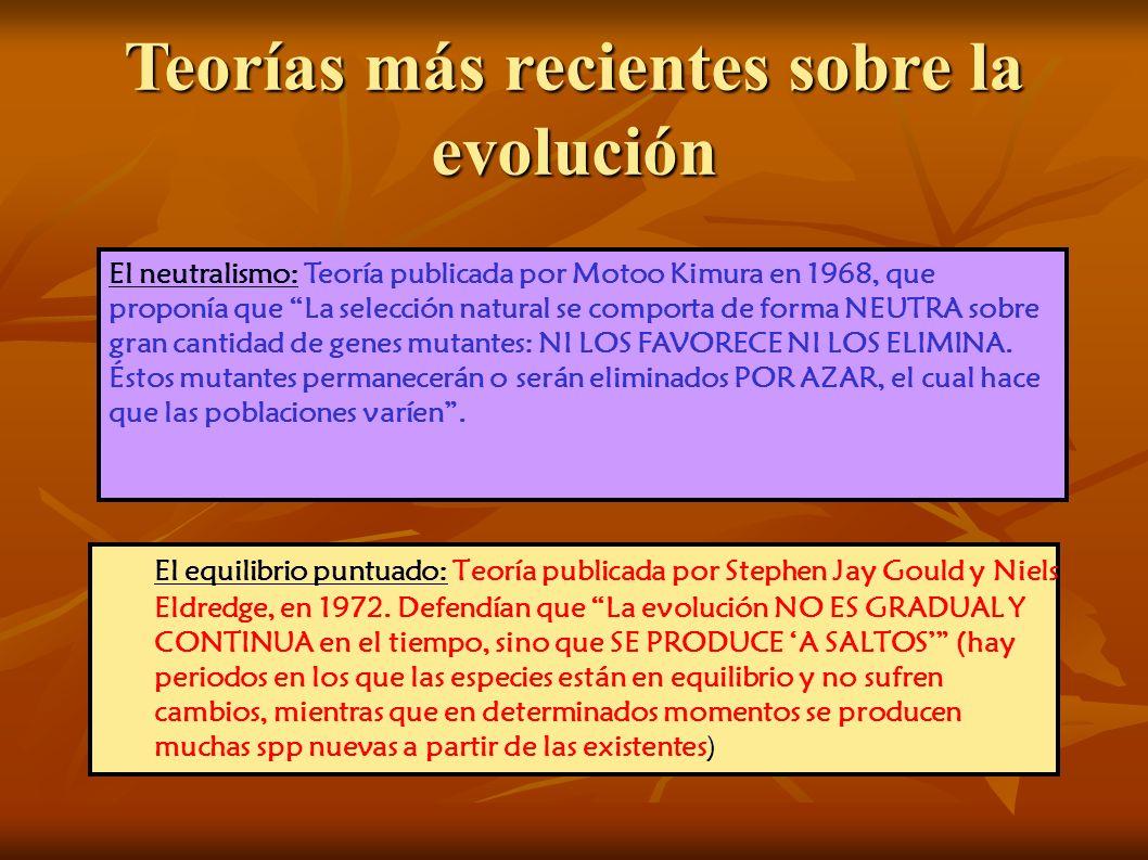 Teorías más recientes sobre la evolución