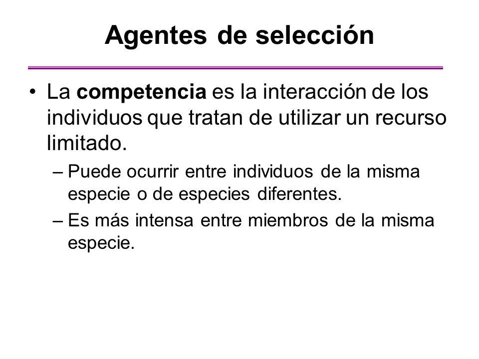 Agentes de selección La competencia es la interacción de los individuos que tratan de utilizar un recurso limitado.