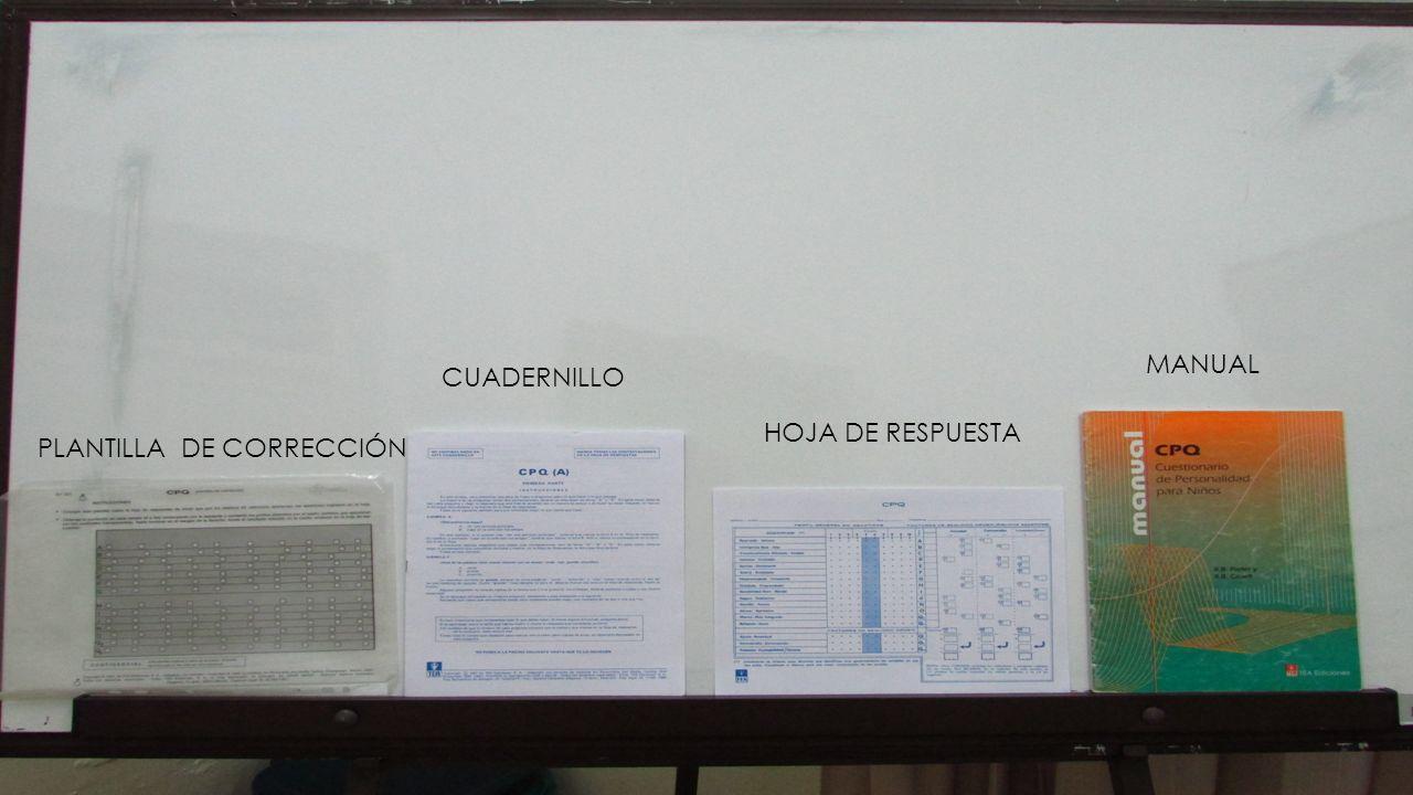 MANUAL CUADERNILLO HOJA DE RESPUESTA PLANTILLA DE CORRECCIÓN