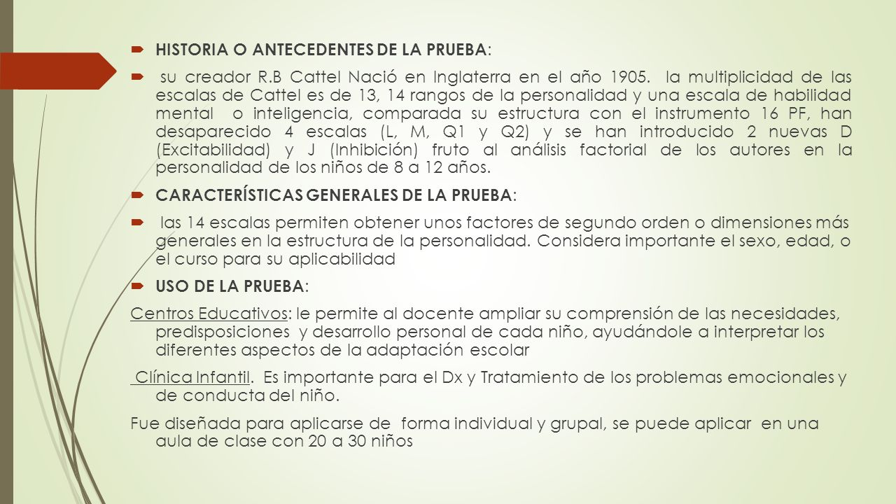 HISTORIA O ANTECEDENTES DE LA PRUEBA: