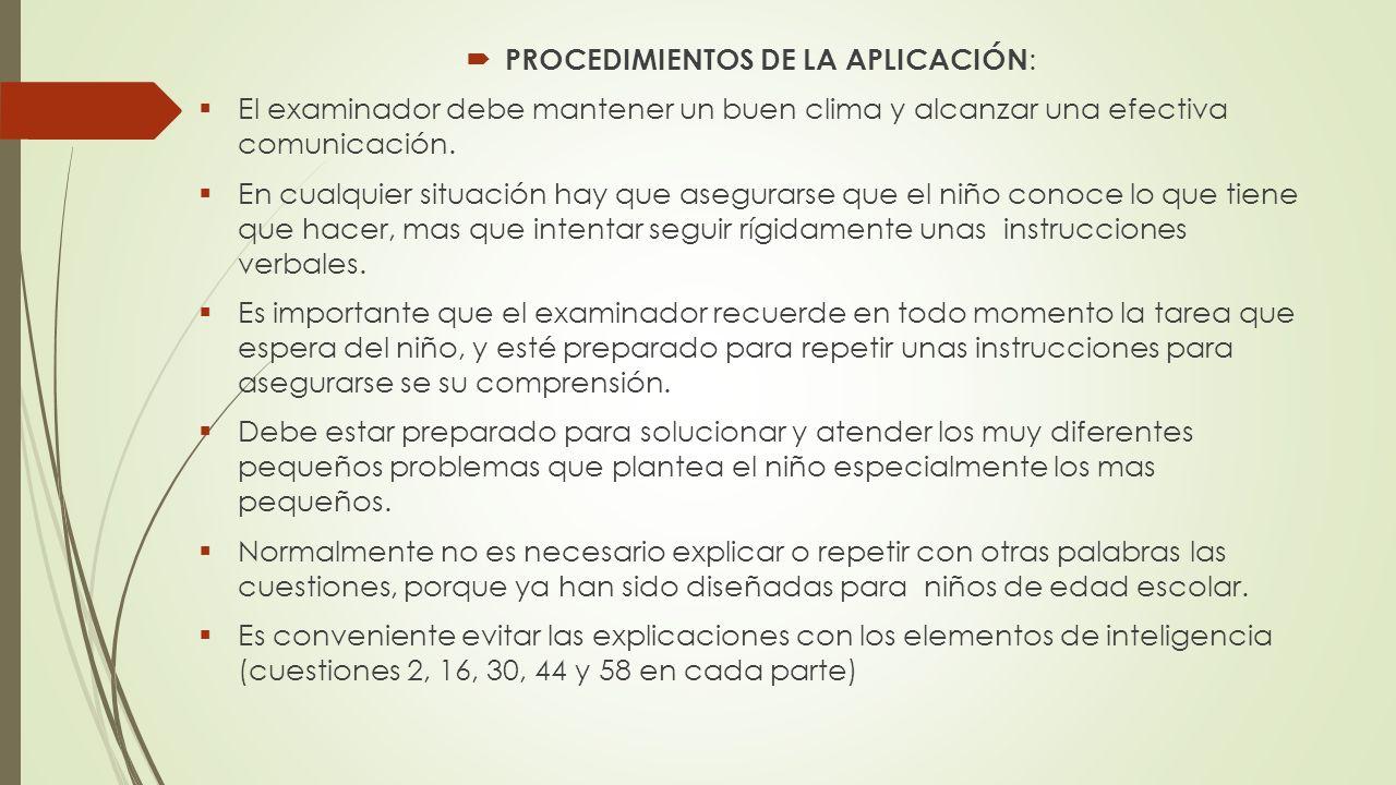 PROCEDIMIENTOS DE LA APLICACIÓN: