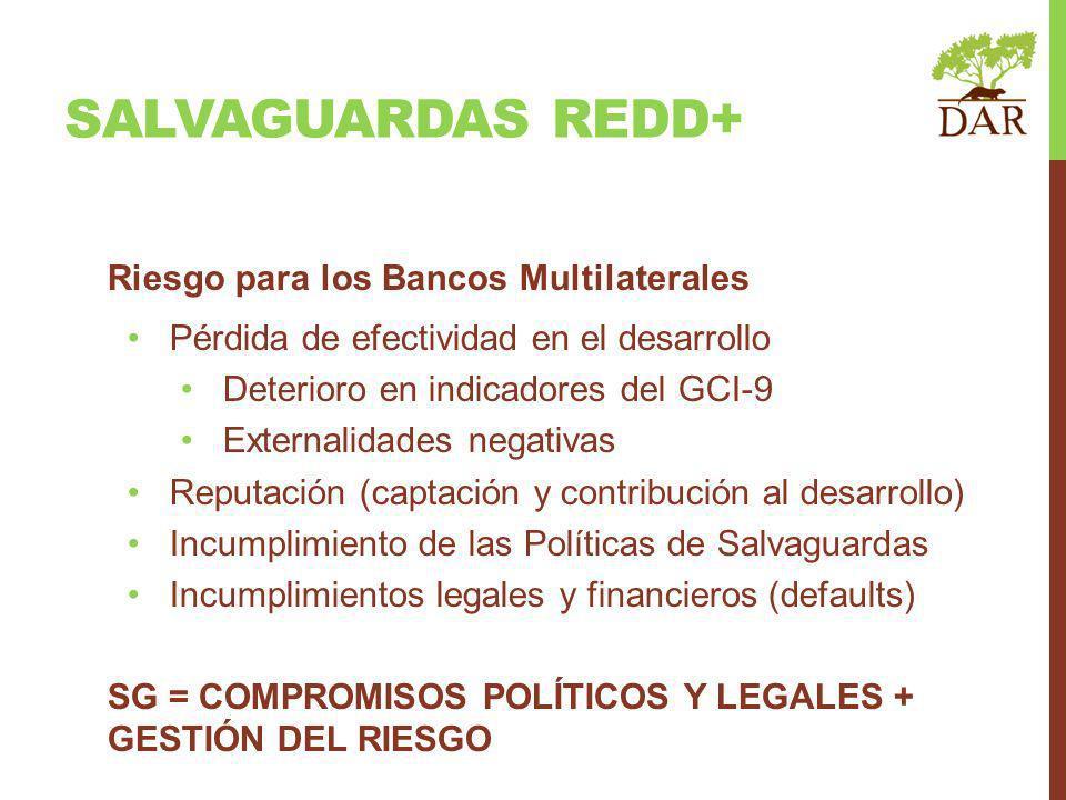 SALVAGUARDAS REDD+ Riesgo para los Bancos Multilaterales