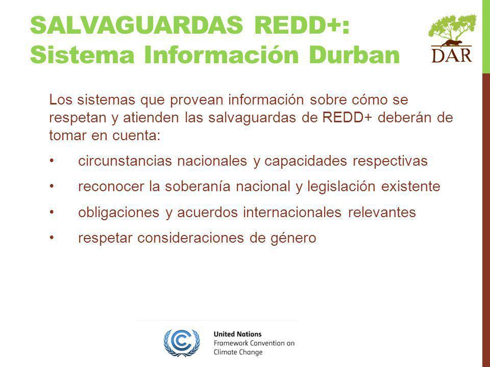 SALVAGUARDAS REDD+: Sistema Información Durban